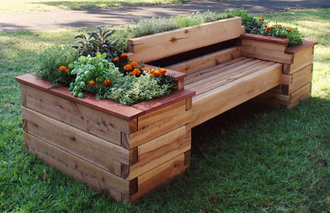 Raised garden bench