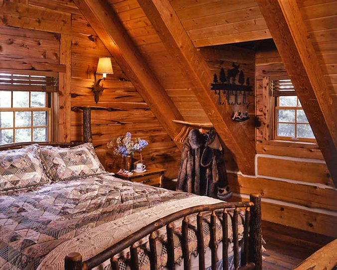 Cozy log cabin bedroom