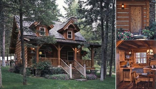 Cozy log cabin with charming interior cozy homes life for Small cozy home plans