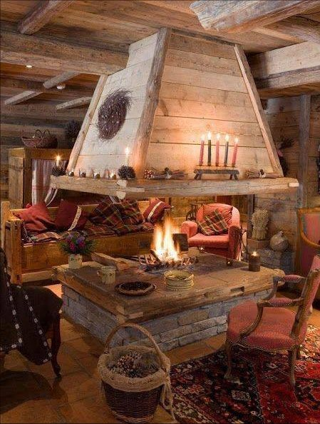 Open firepit in the cabin
