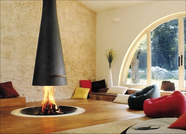 Open fireplace, modern design