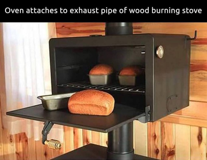 Oven attaches to pipe of wood stove