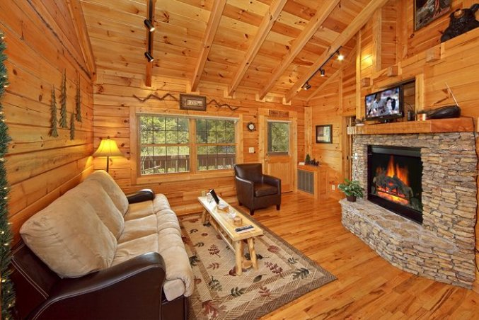 Quiet cozy log cabin inside with fireplace