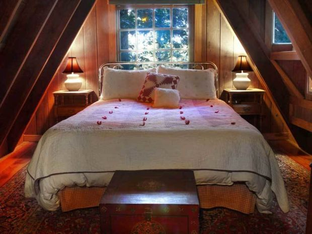Romantic Redwood cabin bedroom