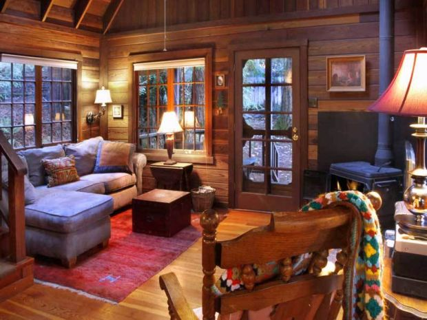 Romantic Redwood cabin inside living room