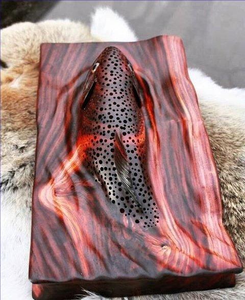 Wood carving fish