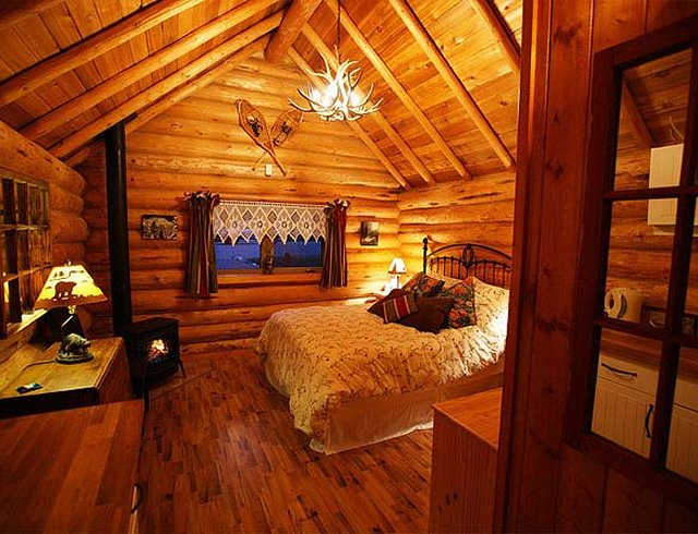 Banff log cabin inside view