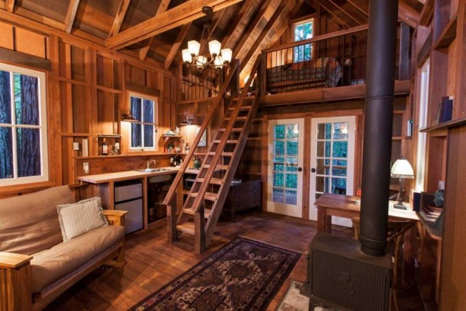 Handcrafted cabin hideaway inside