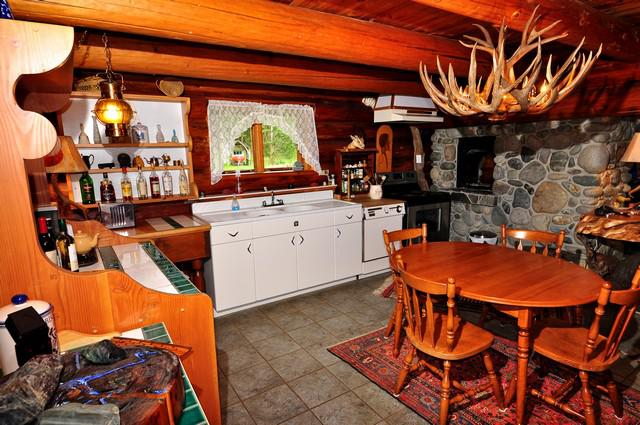 Log cabin with rustic frontier feel kitchen