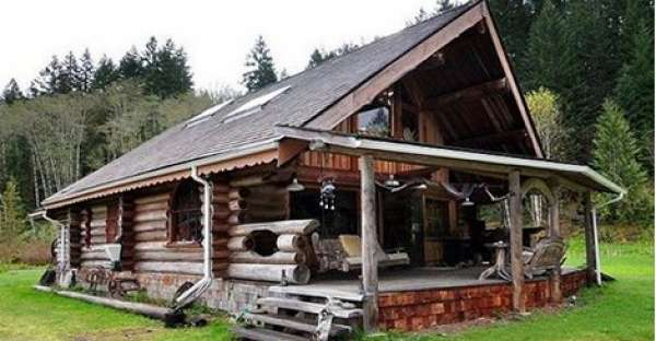 Log cabin with rustic frontier feel