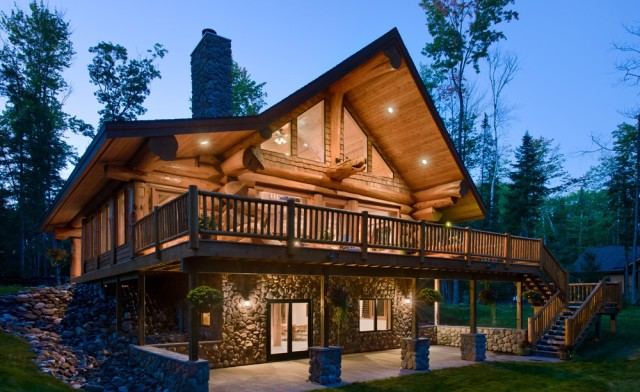 Beautiful log home walkout basement