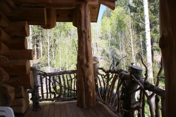 Mountain log cabin porch