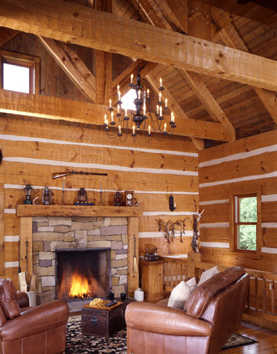 Log cabin with walkout basement interior