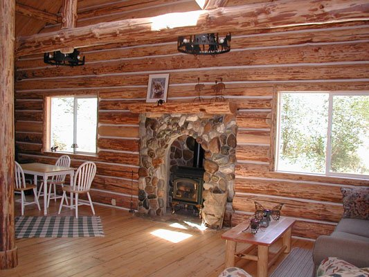 Secluded log cabin interior