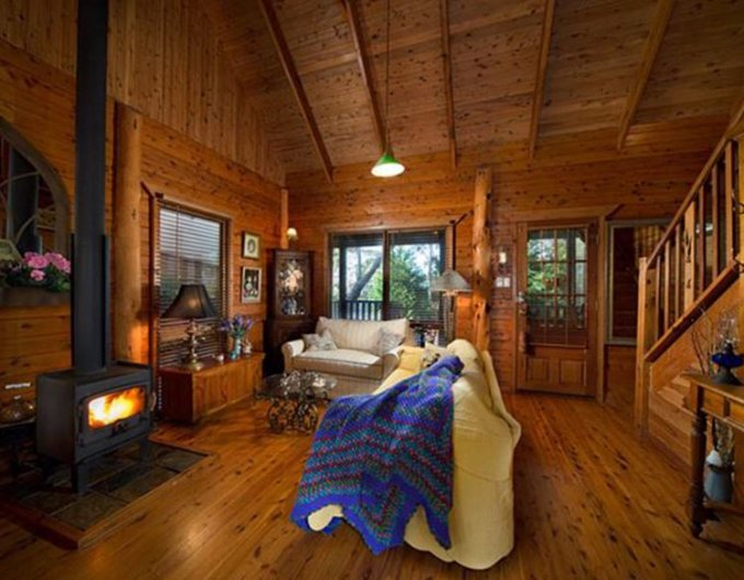 Appalachian log cabin interior
