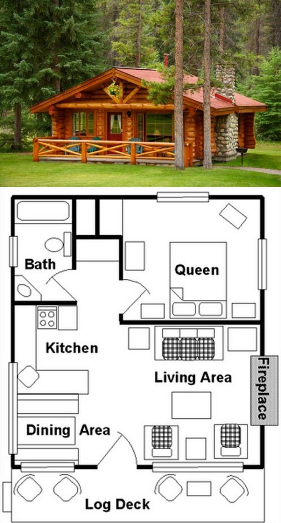 10 cabin floor plans page 2 of 3 cozy homes life for One bedroom log cabin plans