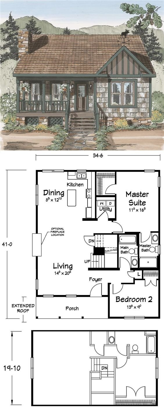 Cozy cabin floor plan