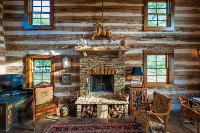 Log cabin restored interior