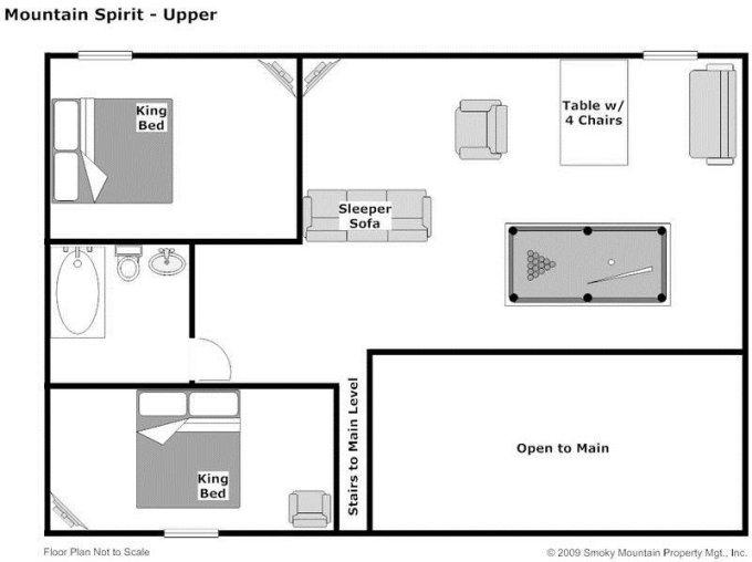 Mountain Spirit log cabin upper level floor plan