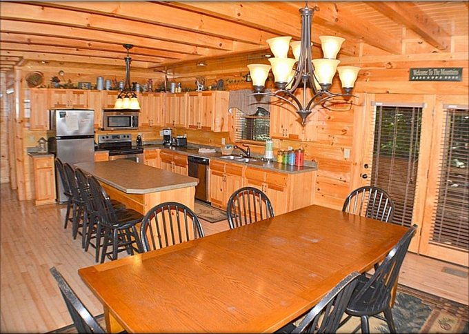 Mountain Spirit log cabin kitchen