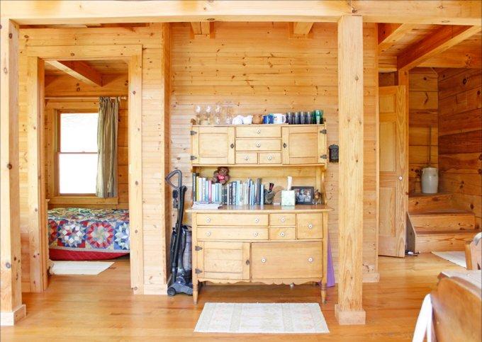 Peaceful rustic log cabin interior