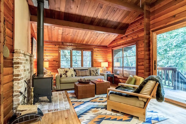 Creekside cabin living room