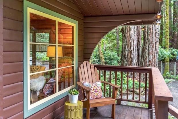 Creekside cabin porch