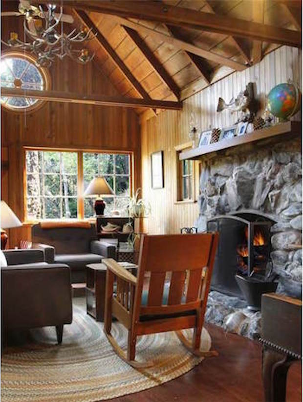 Hillside cabin interior