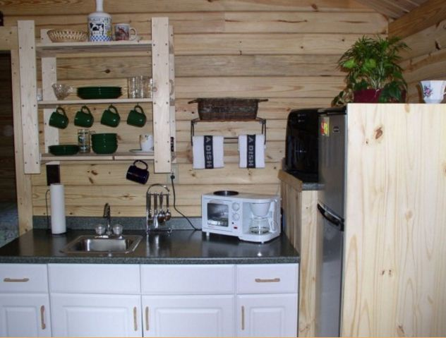 Serenity log cabin kitchen