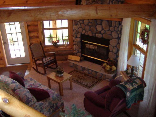 Woodland log cabin interior