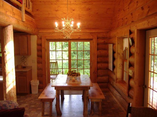 Woodland log cabin living room