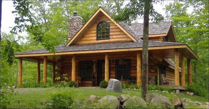 Woodland log cabin