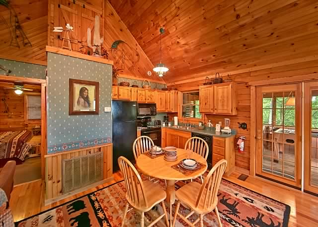 Custom built log cabin interior