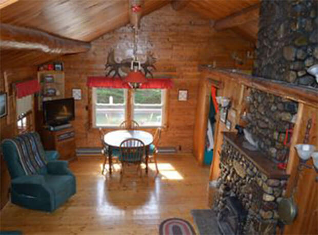 Lakeside log cabin interior
