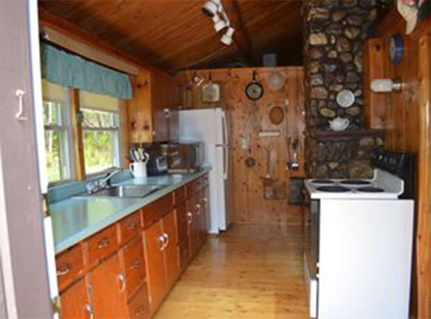 Lakeside log cabin kitchen