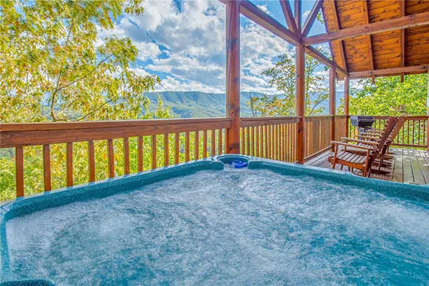Log cabin hot tub