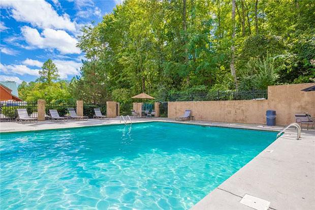 Log cabin swimming pool
