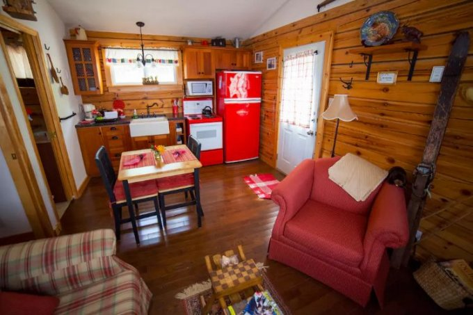Lakefront log cabin interior