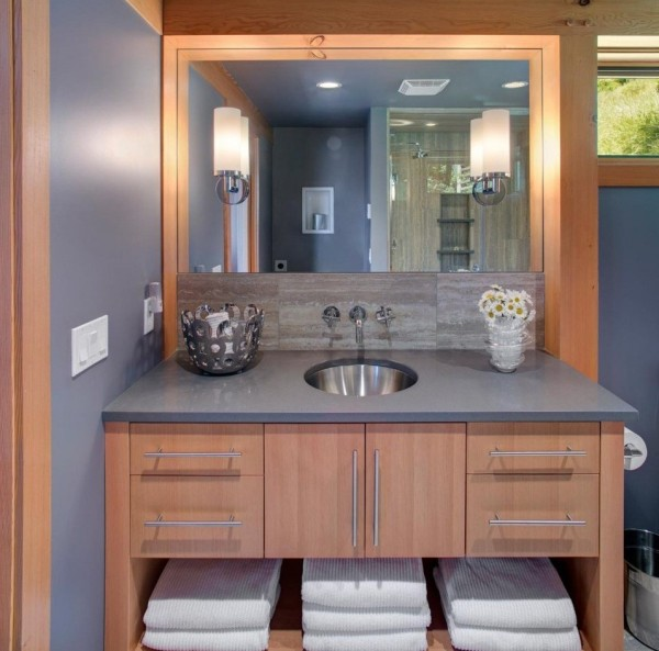 Prefab timber cabin bathroom