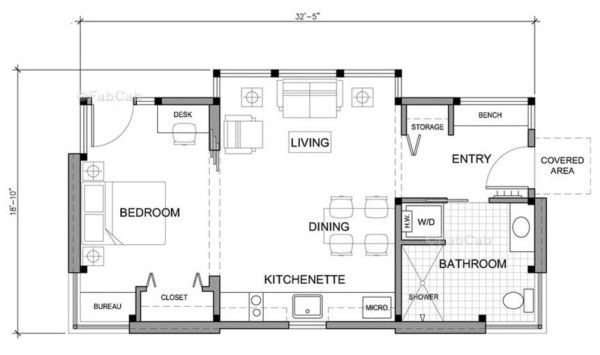 Prefab timber cabin floor plan