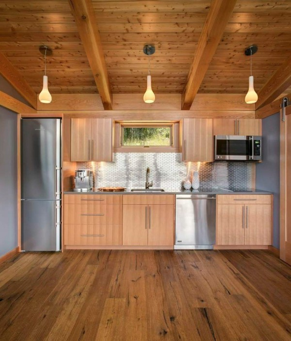 Prefab timber cabin kitchen