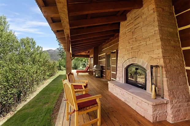 Log cabin porch