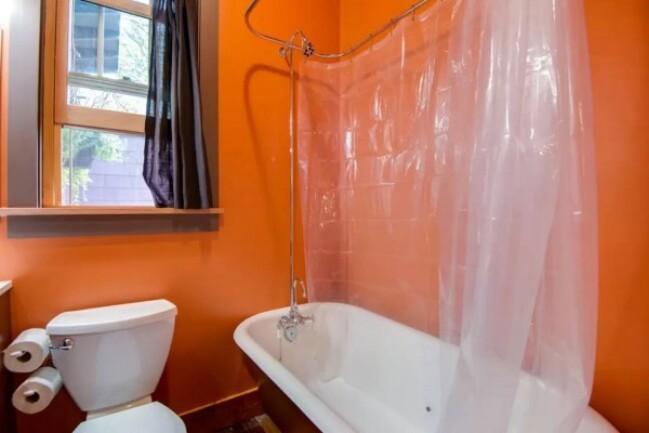 Purple tiny house bathroom