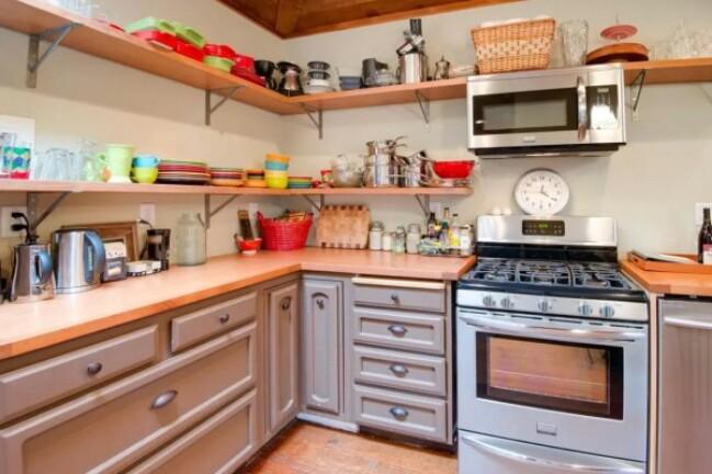 Purple tiny house kitchen