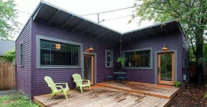 Purple tiny house
