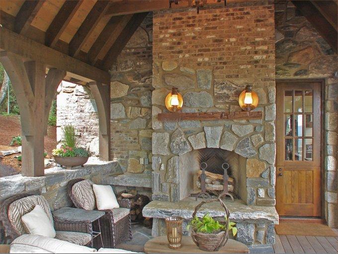 Stone cabin porch