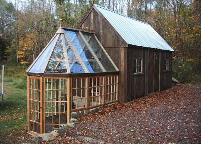 Tiny barn and greenhouse