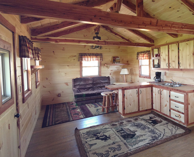 Hunter log cabin interior