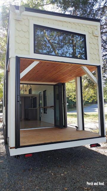 Modern cozy tiny house back view