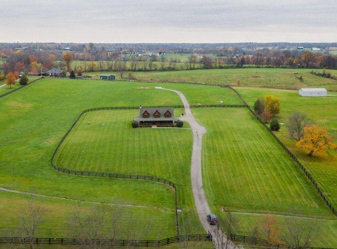 Log home aerial view
